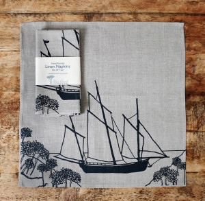 HELEN ROUND Coastal Collection Linen Napkin Blue Print